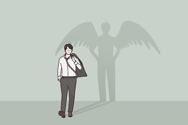 Proud happy confident businessman walking with superhero shadow