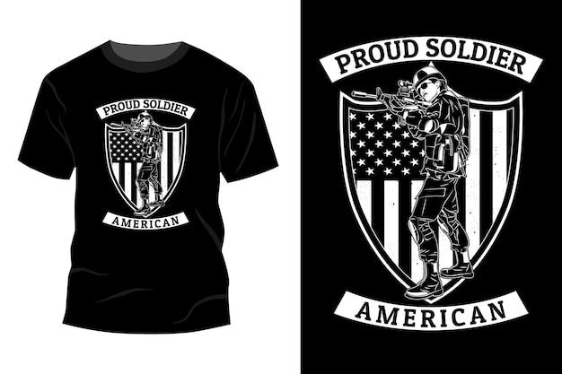 자랑스러운 군인 미국 티셔츠 이랑 디자인 실루엣