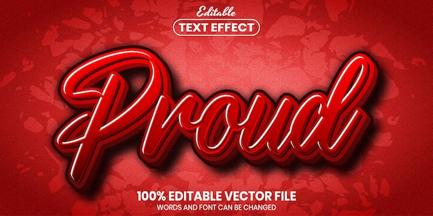 Proud text, font style editable text effect