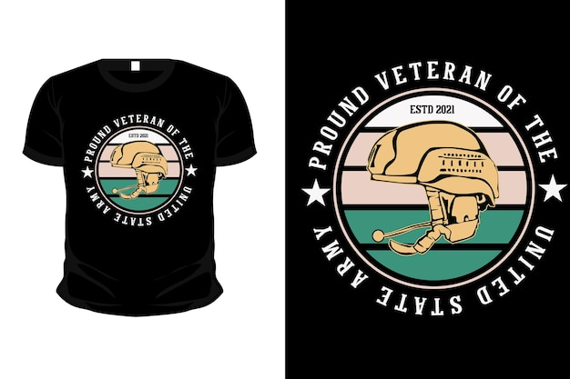 Pround veteran of the united state army illustration mockup t shirt design