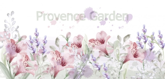 Provence flowers garden watercolor