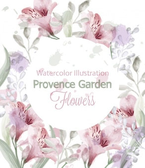 Provence flowers wreath watercolor