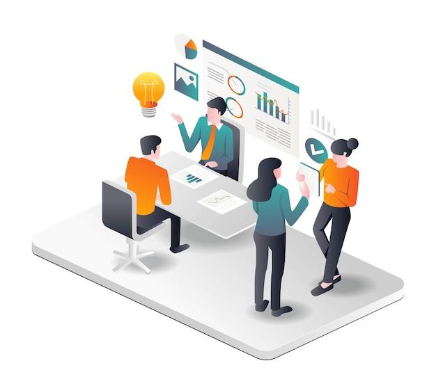 アイソメトリックイラストレーションへの事業投資を開発するためのアイデアを提供する