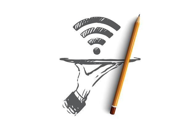 Provider, wi-fi, internet, network, access concept. hand drawn symbol of wi-fi signal concept sketch.