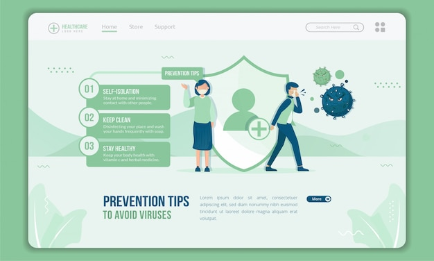 Provides prevention tips to avoid coronavirus on landing page template