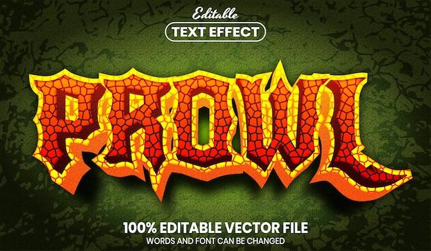 Prowl text, editable text effect