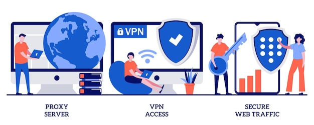 Proxy server, vpn access, secure web traffic concept with tiny people. secure network connection and privacy protection abstract  illustration set. internet service provider metaphor.