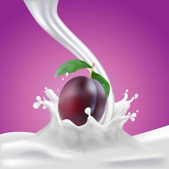 우유 또는 요구르트 튀는 배경에 자두 방울