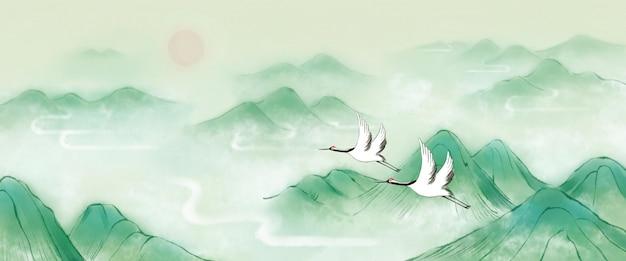 Зеленый китайский стиль ручной росписью горный кран восход psd