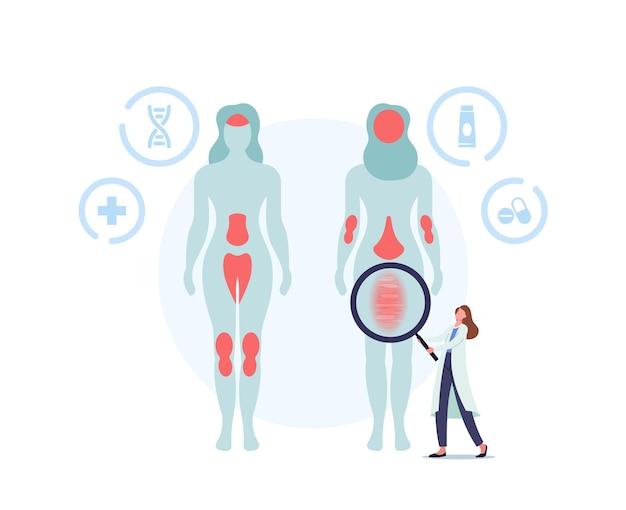 Концепция псориаза. доктор персонаж показывает пораженные участки на теле человека. аутоиммунное заболевание кожи. маркированная структура с чешуей, зубным налетом, расширенными и перекрученными кровеносными сосудами. векторные иллюстрации шаржа