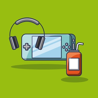 Psp gaming headphones and energy drink can