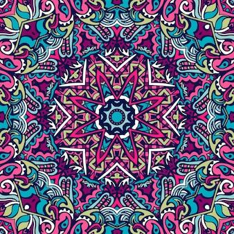 サイケデリックアートのシームレスなパターン。エスニックな幾何学模様。