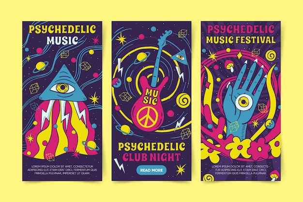 Psychedelic banners designs
