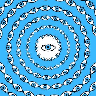 サイケデリックな目が一周します。ベクトル手描き線落書き漫画イラストロゴ。サイケデリックス、第三の目、tシャツ、ポスター、カードのコンセプトのためのトリッピーなプリント