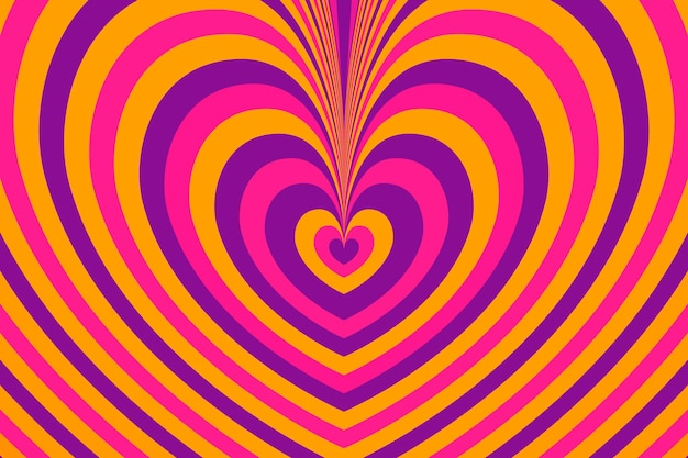 Psychedelic groovy background layers of colored heart