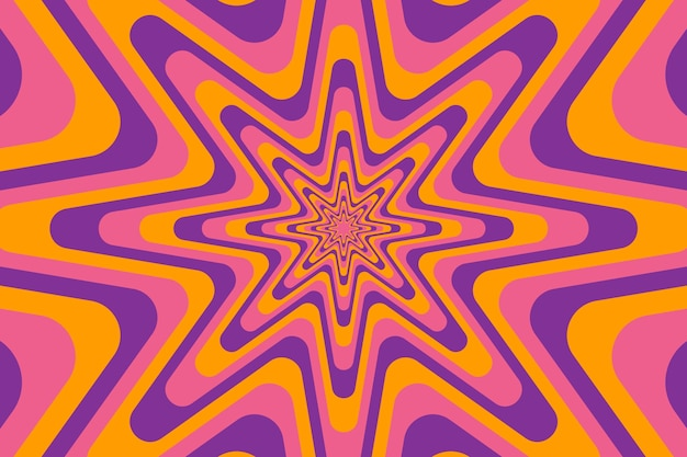 Psychedelic groovy background with abstract shapes