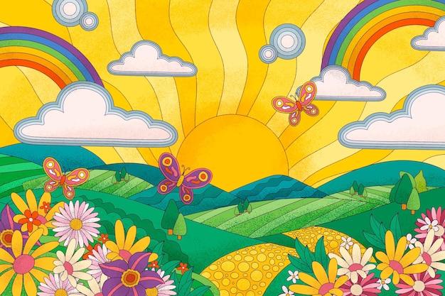 Psychedelic landscape background