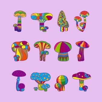 Психоделические грибы или галлюциногенный гриб векторная иллюстрация