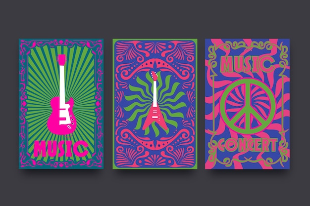 Psychedelic music covers template collection