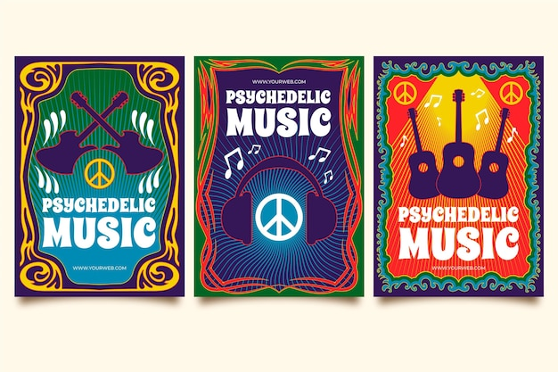 Psychedelic music covers template pack