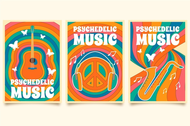 Psychedelic music covers template set