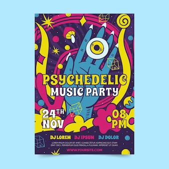 Psychedelic poster template