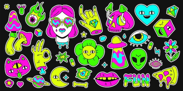 Психоделический ретро-космос, радуга и наклейка с сюрреалистическими элементами. абстрактный мультяшный смайлик, девушка и кошка. набор векторных холютинации. иллюстрация сюрреалистического искусства яркая, стикер смайликов сюрреализм