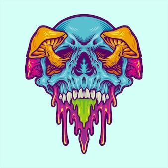 Психоделический череп волшебный гриб