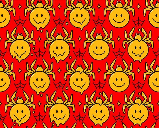 환각 거미 미소 얼굴 캐릭터입니다. 벡터 손으로 그린 낙서 만화 캐릭터 그림입니다. 포스터, 티셔츠 개념에 대한 웃는 얼굴 거미 인쇄