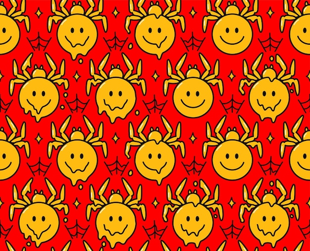 Psychedelic spider smile face character. vector hand drawn doodle cartoon character illustration.smile face spider print for poster, t-shirt concept