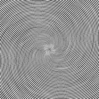 원형 검은 색과 흰색 소용돌이, 나선 또는 트위스트와 환각 사각형 배경.