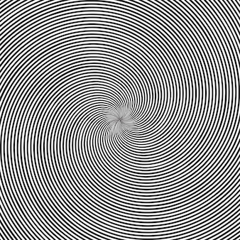 Psychedelic square background with circular black and white swirl, helix or twist.