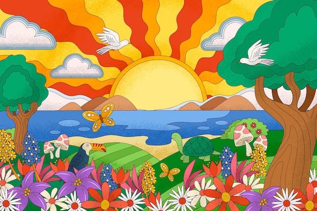 Psychedelic vivid landscape background