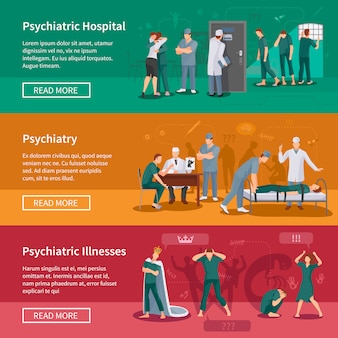 Psychiatric illnesses banners set