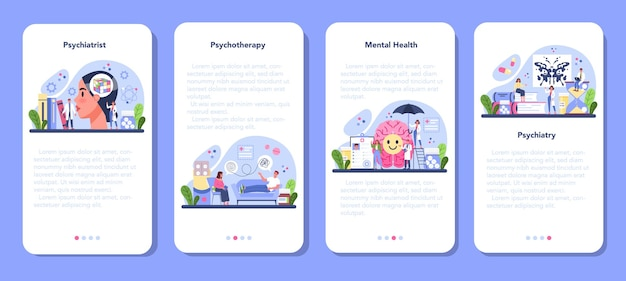Psychiatrist mobile application banner set. mental health diagnostic. doctor treating mind disease with psychiatry. psychological support. vector flat illustration
