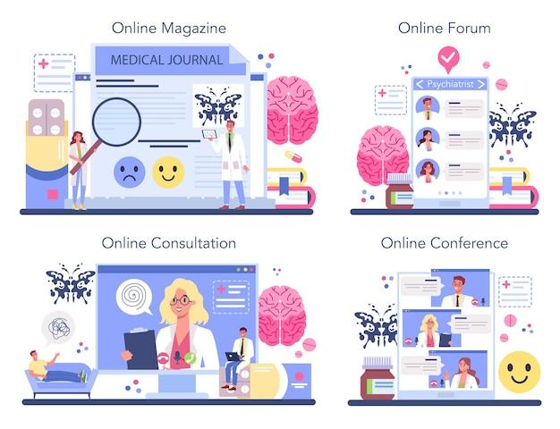 정신과 의사 온라인 서비스 또는 플랫폼 세트.