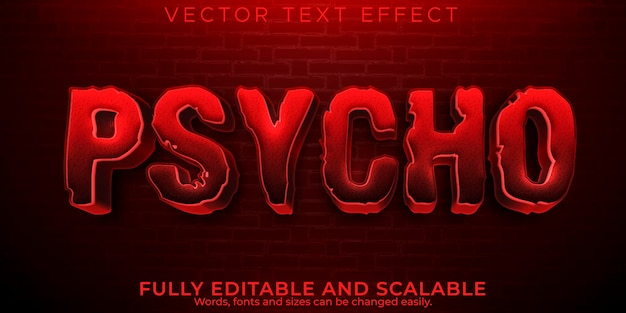 Psycho horror text effect, editable scary and red text style