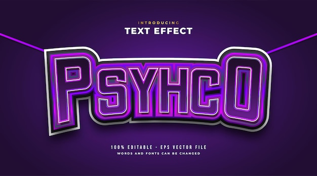Psycho text in purple e-sport style with curved effect. editable text style effect Premium Vector