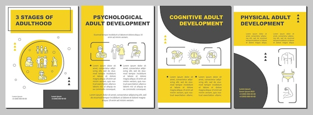 Psychological adult development brochure template. flyer, booklet, leaflet print, cover design with linear icons. vector layouts for presentation, annual reports, advertisement pages