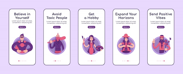 Psychological advices onboarding mobile app screen flat   template