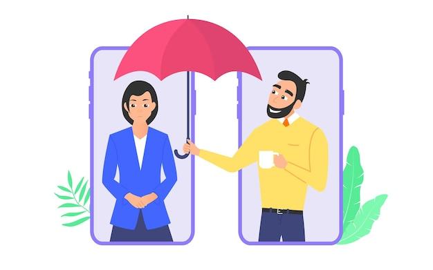 심리 지원 개념입니다. 남자는 심리적 문제가 있는 여자를 지원합니다. 평면 벡터 만화 그림 흰색 배경에 고립입니다.