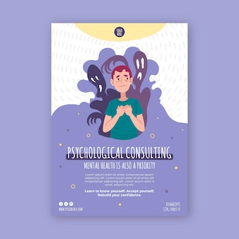 Psychological consulting vertical flyer