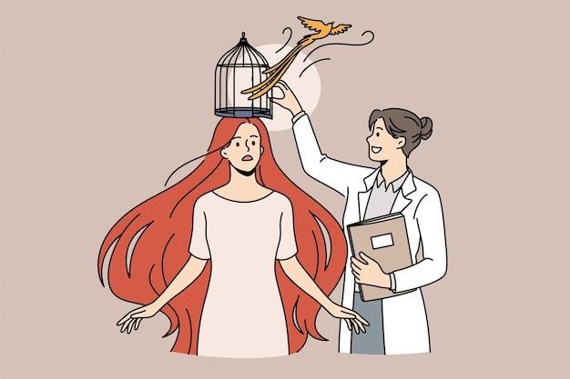 心理的支援とメンタルヘルスの概念。若い笑顔の女性医師心理学者立っている女性患者の頭の脳をケージのベクトル図から解放します。