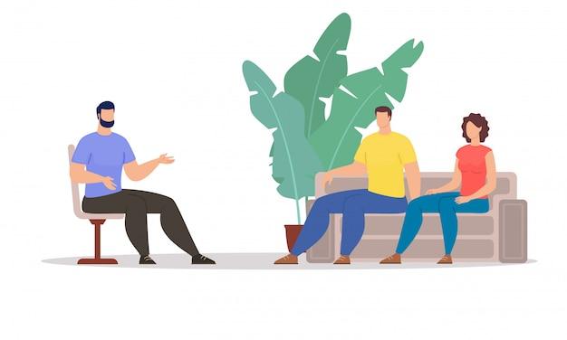 Психологическая помощь для пары плоский векторный концепт