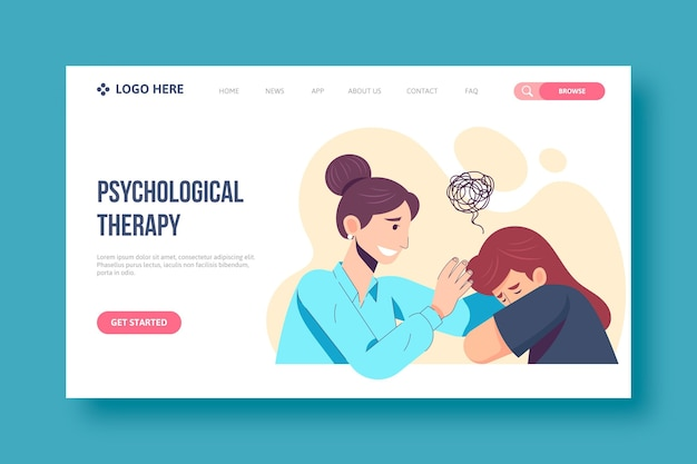 Psychological help landing page concept
