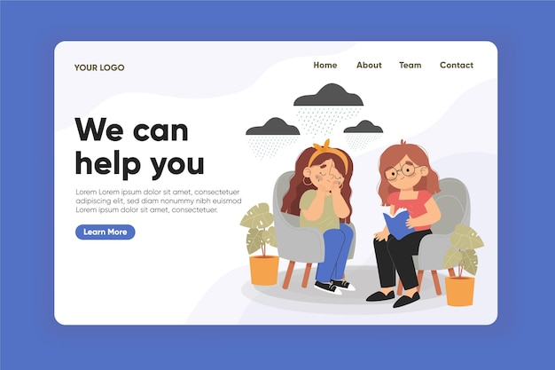 Psychological help landing page design