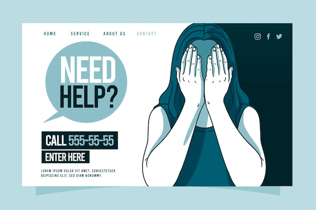Psychological help landing page template with woman