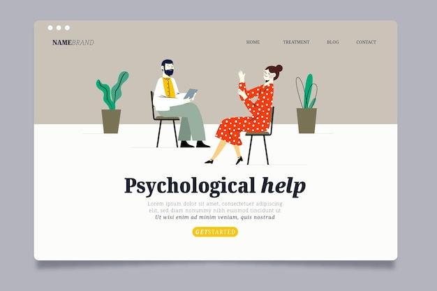 Psychological help landing page template