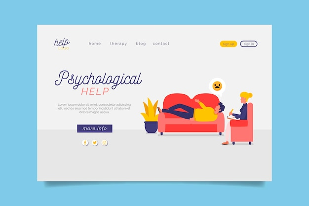 Psychological help landing page with couch