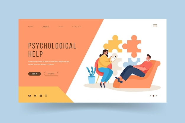 Psychological help landing page with doctor and patient